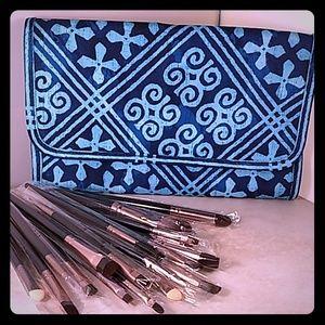 Vera Bradley Cosmetic Brush Holder and Brush Set